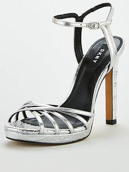 DKNY Dkny Lipa Platform Ankle Strap High Heels - Silver Picture