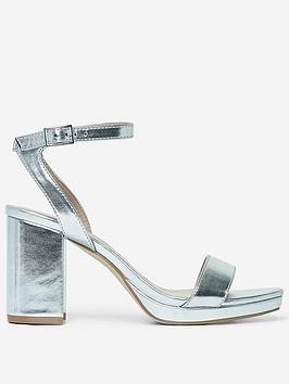 Dorothy Perkins   Sensate Block Heel Sandals - Silver