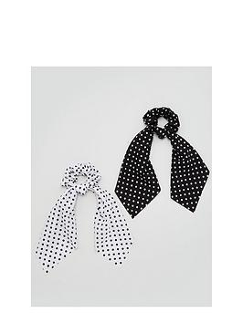 v-by-very-2-pack-polka-dot-hair-scrunchie-scarf-multi