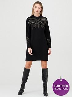 river-island-river-island-studded-detail-knitted-jumper-dress-black