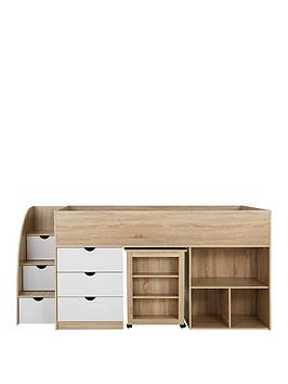 Very Mico Mid Sleeper Bed With Pull-Out Desk And Storage - Oak  ... Picture