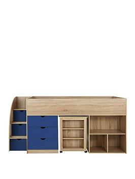 Mico Mid Sleeper Bed With Pull-Out Desk And Storage - Oak Effect/Blue - Mid Sleeper With Premium Mattress