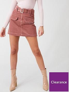 river-island-river-island-corduroy-belted-mini-skirt-pink