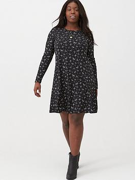 V by Very Curve V By Very Curve Elasticated Cuff Rib Swing Dress - Floral  ... Picture