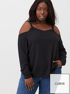 v-by-very-curve-cold-shoulder-waffle-top-black