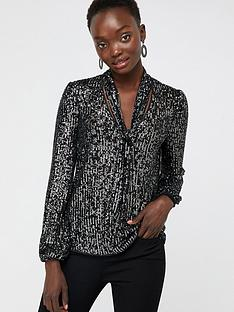 monsoon-dani-sequin-tie-blouse-black