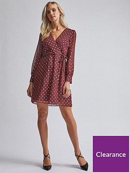 dorothy-perkins-dorothy-perkins-printed-wrap-mini-dress-red