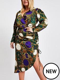 ri-plus-ri-plus-green-print-wrap-front-ruched-dress--green