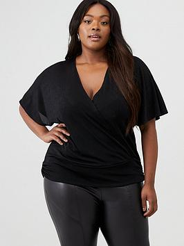 V by Very Curve V By Very Curve Wrap Front Kimono Top With Banded Hem Picture