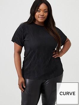 v-by-very-curve-plisse-slash-neck-top-black
