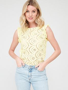 V by Very V By Very Broidery Woven Mix Vest - Lemon Picture