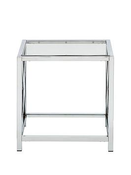 Very  Christie Glass And Chrome Lamp Table