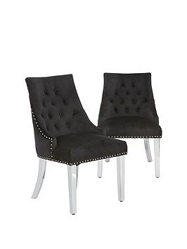 Very Pair Of Warwick Velvet Dining Chairs Picture