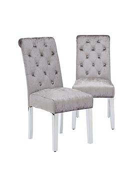 Pair Of Crushed Velvet Scroll Back Dining Chairs
