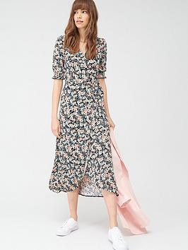 V by Very V By Very Shirred Sleeve Wrap Dress - Black Floral Picture