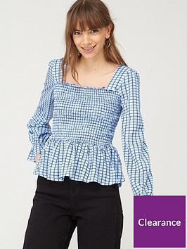v-by-very-shirred-milkmaid-long-sleeve-top-check