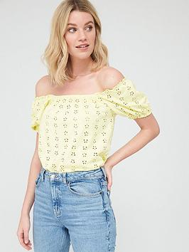 V by Very V By Very Puff Sleeve Bardot Top - Lemon Picture