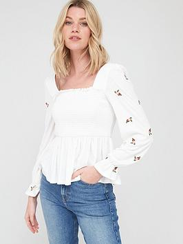 V by Very V By Very Shirred Milkmaid Long Sleeve Top - White Picture