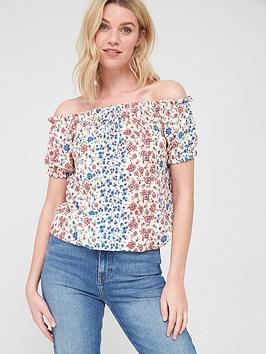 V by Very V By Very Short Sleeve Bardot Top - Floral Picture