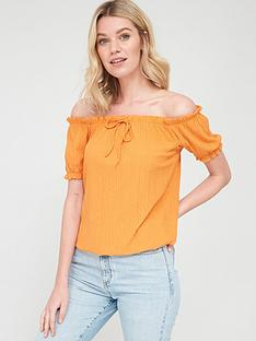 v-by-very-short-sleeve-bardot-top-orangenbsp