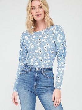 V by Very V By Very Frill Long Sleeve Blouse - Blue Floral Picture