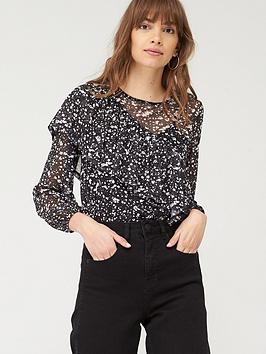 V by Very V By Very Frill Mesh Blouse - Mono Print Picture