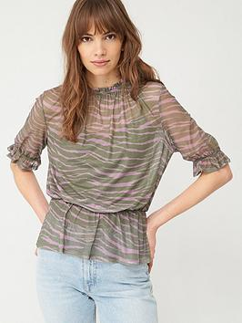 V by Very V By Very Mesh High Neck Frill Top - Zebra Print Picture