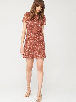 V by Very V By Very Ruched Side Mesh Dress - Rust Print Picture