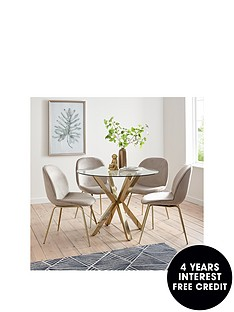 michelle-keegan-home-chopstick-100-cm-round-brass-dining-table-4-penny-velvet-chairs-brasstaupe