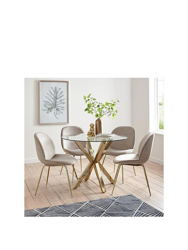 Michelle Keegan Home Chopstick 100 Cm Round Brass Dining Table 4 Penny Velvet Chairs Brass Taupe Littlewoods Com