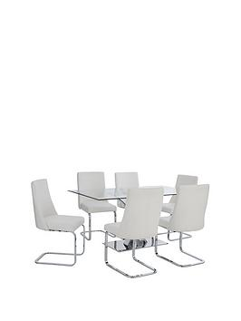 Very  Alice Rectangle Dining Table + 6 Faux Leather Chairs - Clear/White