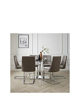 Alice 160 Cm Rectangle Glass And Chrome Dining Table + 6 Velvet Chairs