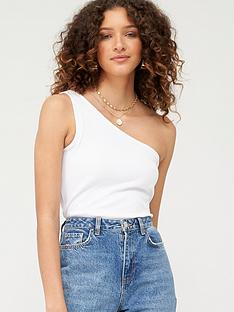 v-by-very-one-shoulder-rib-top-white
