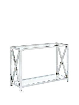 Christie Glass And Chrome Console Table