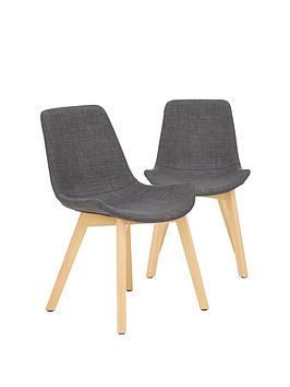 Very Pair Of Scandi Dining Chairs - Grey/Oak Effect Picture