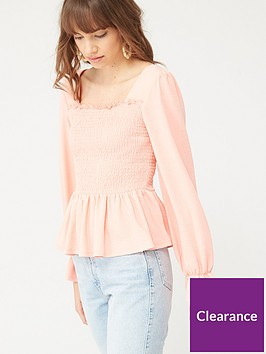 v-by-very-shirred-milkmaid-long-sleeve-top-pink