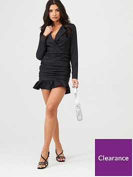 in-the-style-in-the-style-wrap-front-ruched-frill-hem-dress-black