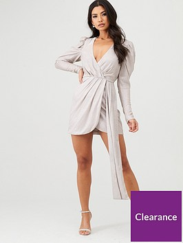 in-the-style-in-the-style-x-stephsa-draped-wrap-mini-dress-silver