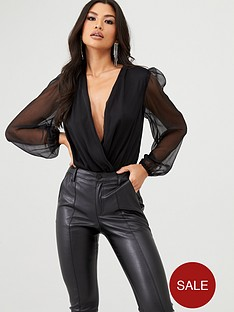 in-the-style-in-the-style-sheer-sleeve-bodysuit-black