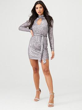 in-the-style-in-the-style-x-stephsa-sequin-high-neck-mini-dress-silver