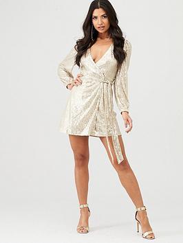 In The Style In The Style In The Style X Stephsa Sequin Wrap Dress - Gold Picture