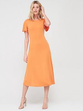 V by Very V By Very Tie Back Short Sleeve Dress - Orange Picture