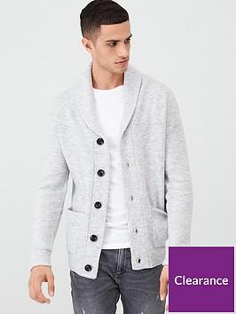 river-island-grey-knitted-shawl-collar-cardigan