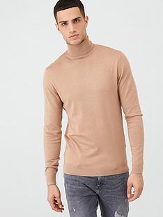 river-island-brown-slim-fit-roll-neck-jumper