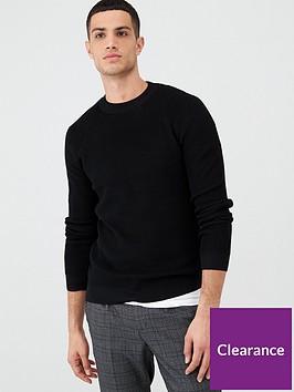 river-island-black-long-sleeve-knitted-slim-fit-jumper