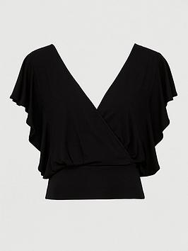 V by Very V By Very Frill Sleeve Tie Back Top  - Black Picture