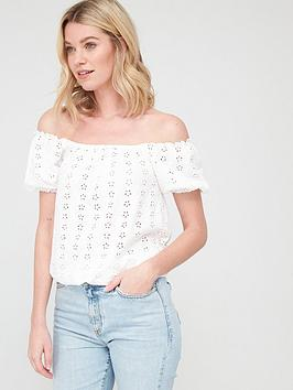 V by Very V By Very Puff Sleeve Bardot - White Picture