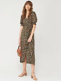 v-by-very-shirred-sleeve-wrap-dress-khaki-print