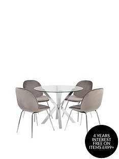chopstick-100-cm-glass-top-round-dining-table-4-penny-velvet-chairs