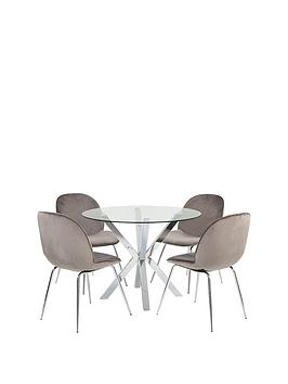 Very  Chopstick 100 Cm Glass Top Round Dining Table + 4 Penny Velvet Chairs